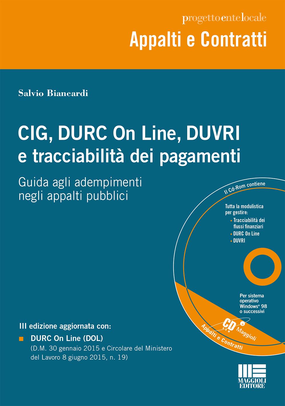 CIG, DURC On Line, DUVRIe tracciabilità dei pagamenti